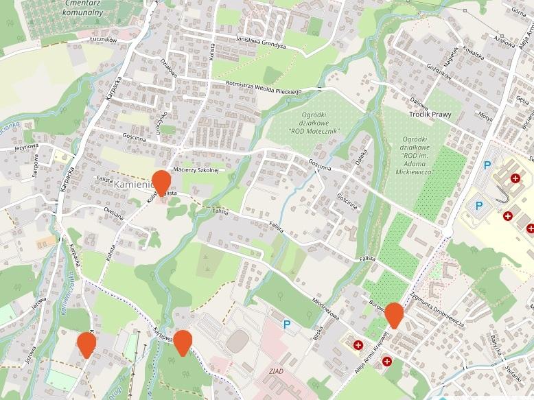 mapa, Dolina Gościnna, Bielsko-Biała
